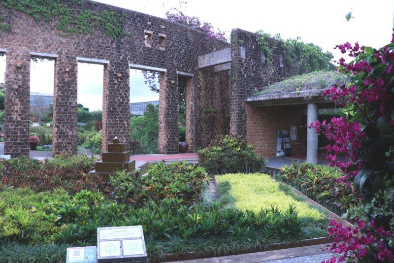 熱帯ドリームセンターの庭園。レンガの建物と熱帯植物で作られている洋風の庭園